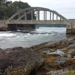 Blue Hill's reversing falls bridge