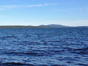 "Mount Desert's ""Sleeping Giant"" in the distance"