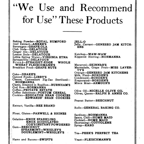 1918 Table Talk foods used (sq)