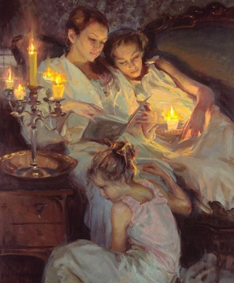 Reading aloud by candlelight