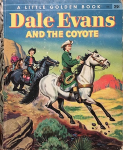 """Dale Evans galloped along the desert trail on her beautiful white horse."""