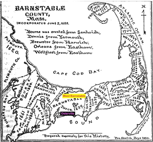Barnstable settlement map from History of Barnstable County, MA