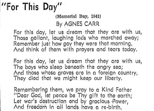 1943 Agnes Carr poem